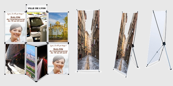 Stand salon signalétique publicitaire - Création de stand de salon x-banner et tableau d'exposition création graphique d'affichage.
